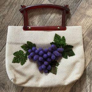 Vintage burlap grape purse with lucite handles